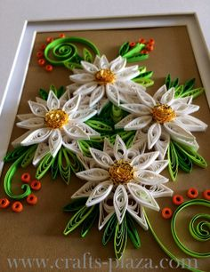 Framed Flowers - Quilled Daisies