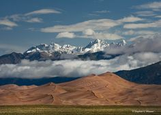 Great Sand Dunes NP and Preserve with the Crestone Peaks of the Sangre de Cristo Range rising in the background
