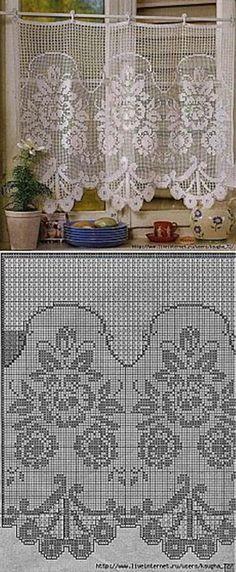 Curtains on kitchen. Crochet Curtain Pattern, Crochet Patterns Filet, Crochet Doily Rug, Crochet Eyes, Crochet Curtains, Curtain Patterns, Crochet Diagram, Diy Curtains, Doily Patterns