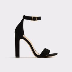 Figarro Buckled ankle strap and asymmetrical toe strap take this high heel dress sandal beyond basic territory.