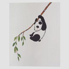 Decorazione su parete 🐼🌿#panda #cute #kawaii #doodle #sketching #sketch #paintwall #drawing #draw #cartoon #animal #babyroom #interiordesign