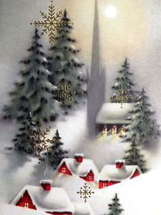Old Christmas Post Cards — Vintage (638x850)