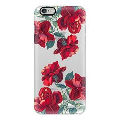 iPhone 6 Plus/6/5/5s/5c Case - Red Roses (Transparent) ($40) ❤ liked on Polyvore featuring accessories, tech accessories, phone cases, iphone case, apple iphone cases, iphone cover case, red iphone case and iphone 5 cover case