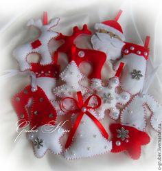 """Купить Елочные игрушки из фетра """"Бело-красный новый год"""" - белый, елочные игрушки"""