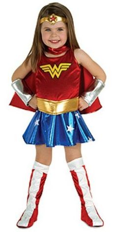 Help your little girl grow up to be Wonder-ful and Super by encouraging her creative play and building her self confidence by donning the costume of the strongest of women.