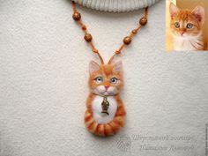Купить Брошь – кулон Котик из шерсти рыжий кот, портретный котёнок Cat - кот