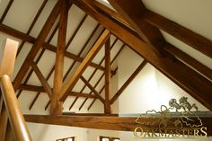 King post trusses and open vaulted ceilings - Oakmasters Open Ceiling, Barn Living, Roof Trusses, Gable Roof, Roof Structure, Exposed Beams, Vaulted Ceilings, Stairs, House Design