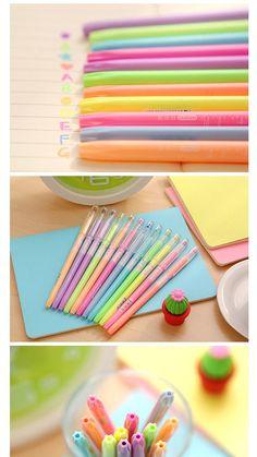 Fluorescent Gel Pen Set Light Orange Green Purple 3 by TinyBees