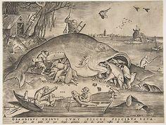 Big Fish Eat Little Fish  Pieter van der Heyden (Netherlandish, ca. 1525–1569)  Architect: After Pieter Bruegel the Elder (Netherlandish, Breda (?) ca. 1525–1569 Brussels) Publisher: Hieronymus Cock (Netherlandish, Antwerp ca. 1510–1570 Antwerp) Date: 1557 Medium: Engraving; first state of four Dimensions: 9 x 11 5/8 in. (22.9 x 29.6 cm) Classification: Prints Credit Line: Harris Brisbane Dick Fund, 1917 Accession Number: 17.3.859