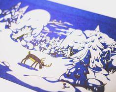Winter forest landscapes illustration by ISKRArt on Etsy