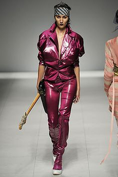 Vivienne Westwood Spring 2009 Ready-to-Wear , 80's heavy metal inspired leather pants suit and loose fitted sleeves and enlarged shoulders