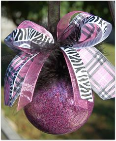 Pink and Black Glittered ornament with zebra bow by lyricalletters, $14.00