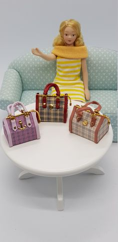 Miniature Handbag pendant • miniature • Fashion jewelry • Jewelers • miniatures •1/12 Scale Dollhouse Miniature handmade designer Bag Scale, Fashion Jewelry, Miniatures, Etsy, Chair, Pendant, Bag, Handmade, Design