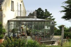 Veranda en acier style Victorien avec balcon intégré dessus - turpin longueville