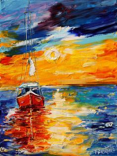Original Sunset Boat oil painting by artist Karen Tarlton.  Painted on gallery wrapped canvas in impasto oil technique with palette knife. Title: