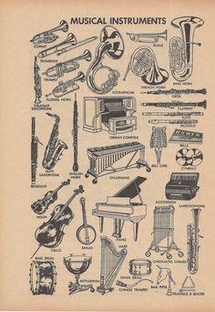 Musical Instruments Music Vintage Illustration by VintageButtercup, $10.00