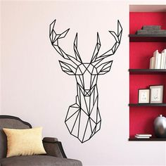 Origami Style Deer Head Wall Sticker
