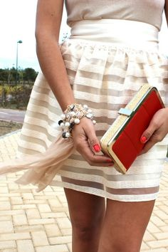 Skirt, ivory sheer stripe.  Must make this with my ivory leather and sheer striped fabric.