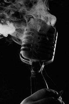 By jabeek4evr - Black and White Photography - Mic - Microphone - Music - Smoke