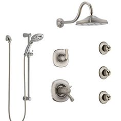 Delta Addison Dual Thermostatic Control Stainless Steel Finish Shower System, Diverter, Showerhead, 3 Body Sprays, and Hand Shower Shower Diverter, Shower Valve, Shower Faucet, Body Shower, Custom Shower, Delta Faucets, Shower Systems, Water Conservation, Body Spray
