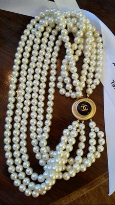 Chanel Button Necklace DesignsbyZ Vintage Pearls repurposed zumphlette@aol. com