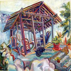 Sydney's Garden House, 2004, Diana Young, 36 x 36 inches, gouache, $3200 Sydney Gardens, Gouache, Diana, Fair Grounds, Home And Garden, Artists, House, Painting, Painting Art