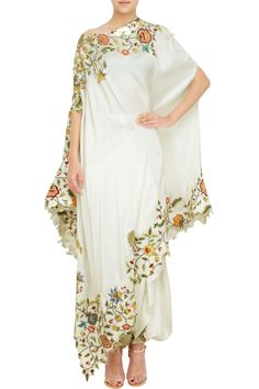 Buy White Smoke Color Cape Dress by Akanksha Singh at Fresh Look Fashion Indian Dresses, Indian Outfits, Stylish Dresses, Fashion Dresses, Casual Dresses, Dresses Dresses, Dresses Online, Girls Dresses, African Fashion