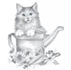 Kitten in Watering Cat Shirt, cat t-shirt, sweet kitty kat in garden & flowers Cat Garden, Cat Shirts, Cat Art, Art Pictures, Cat Lovers, Crew Neck, Unisex, Drawings, Cats