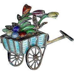 #VintageBeginsHere at www.rubylane.com @rubylanecom --Vintage Art Deco 835 Silver Enamel Tulip Flower Cart Spring Easter Brooch Pin