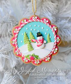 Handcrafted Polymer Clay Winter Snowman Scene by MyJoyfulMoments