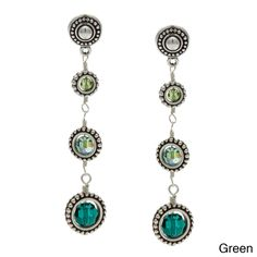 Charming Life Silver Graduated Framed Round Crystals 3-Drop Long Earrings - Overstock™ Shopping - Big Discounts on Charming Life Fashion Earrings