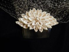 Ivory Kanzashi Flower Birdcage Veil by AngelPetals on Etsy, $40.00
