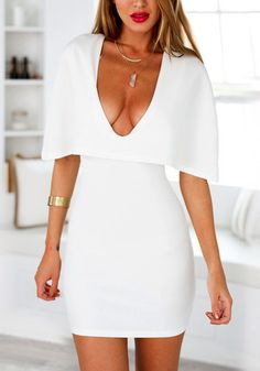 This white cape bodycon dress is perfect for those days when you just feel like you have nothing to wear. Get it here and enjoy it with free shipping. #lookbookstore #FashionClothing