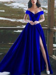 Long Prom Dress Prom Dresses Prom Dress 2019 Prom Dress For Cheap Prom Dresses Long Split Prom Dresses, Royal Blue Prom Dresses, Prom Dresses 2018, Cheap Prom Dresses, Satin Dresses, Evening Dresses, Dress Prom, Dress Long, Royal Blue Ballgown