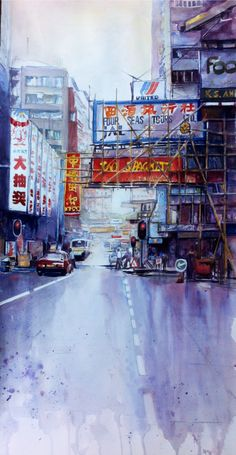 Hong Kong Street- Joneile Emery, watercolor.  joneilesart.blogspot.com