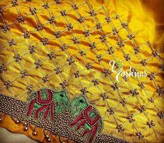 Beaded Embroidery, Hand Embroidery, Embroidery Designs, Saree Dress, Saree Blouse, Elephant Design, Work Blouse, Embroidered Blouse, Pearl Beads