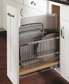Kitchen Cabinet Organization | Waypoint Living Spaces, beside range - so much easier when it's a pull out!!!!