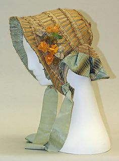 Bonnet 1850, French, Made of straw