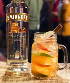 Caramel Spiked Cider | • 1.5 CUPS Smirnoff® Kissed Caramel® • 4 Cups Apple Cider • 4 OZ Lemon Juice • 2 OZ Grenadine • Serves 8