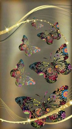 Gold and Colorful Butterfly Wallpaper Beautiful Nature Wallpaper, Colorful Wallpaper, Flower Wallpaper, Screen Wallpaper, Wallpaper Backgrounds, Butterfly Pictures, Butterfly Art, Butterfly Place, Butterfly Kisses