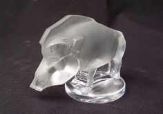 Vintage Collectible Lalique France Signed Crystal Wild Boar Figurine Paperweight