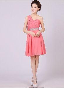 GABRIELA - A-line Knee length Chiffon One shoulder Chinese Cheap Wedding Party Dress