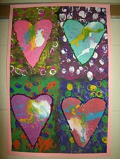 1st Grade Jim Dine Hearts - I did a similar project last year but this takes it a step further love it!