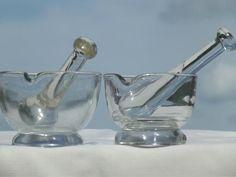 vintage laboratory glass mortar & pestle sets, clear glass mortars & pestles