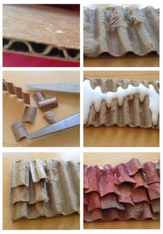 How to make a reused tile roof for the grade Mission Project Miniature Crafts, Miniature Houses, Diy Dollhouse, Dollhouse Miniatures, Dollhouse Miniature Tutorials, Santa Barbara Mission, Diy And Crafts, Crafts For Kids, Kids Diy