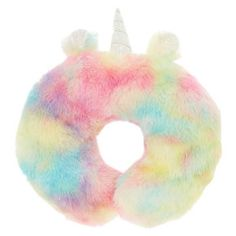 Claire's Pastel Rainbow Unicorn Travel Pillow - New Site Little Girl Toys, Toys For Girls, Cute Unicorn, Rainbow Unicorn, Unicorn Horns, Unicorn Bedroom Decor, Unicorn Bedroom Accessories, Unicorn Decor, Unicorn Fashion