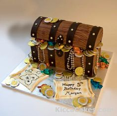 Pirate treasure chest cake. This pirate chest cake was made for a Treasure hunting game at a birthday party.