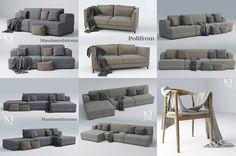 El estudio de visualización arquitectónica NB Studio comparte esta colección de modelos 3D con mobiliario que incluye 5 sofás, una silla y un otomano.