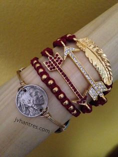 You will receive 5 bracelets in this stack. 1 Garnet Spear/Arrow, 1 Clear Spear/Arrow, 1 garnet and gold beaded macrame, 1 Gold feather macrame and 1 Florida State Football, Florida State University, Florida State Seminoles, Oklahoma Sooners, Alabama Football, American Football, College Football, Football Tailgate, Florida Tennessee