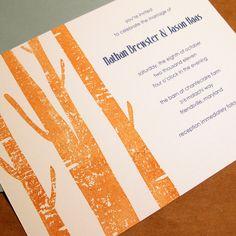 Modern Rustic Trees Hand-Stamped Wedding Invitation Set. $4.20, via Etsy.